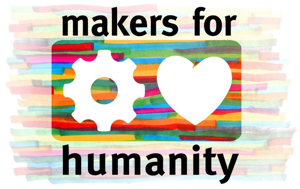 Das Logo der Makers 4 Humanity - Herz und Zahnrad vor buntem Hintergrund